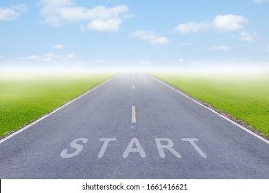 start line on the highway concept for business planning, strategy and challenge.