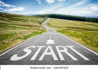 Start line on the highway disappearing into the distance concept for business planning, strategy and challenge or career path, opportunity and change