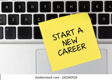 """Start a New Career"" Note on Laptop"