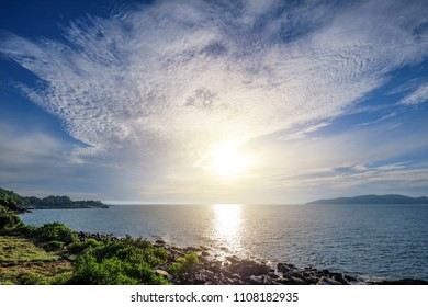 Start new day with fresh air in morning sunrise and beautiful view at Khao Leam Ya, Rayong Thailand.
