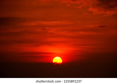 start new day with sunrise and red sky.