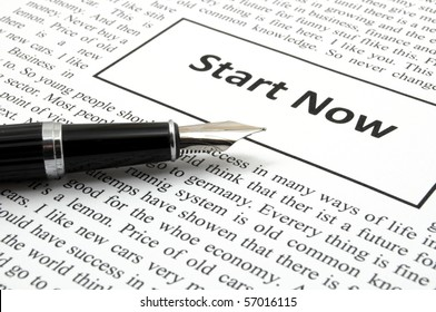 start now concept with newspaper showing business success concept