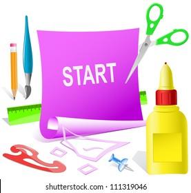Start. Paper template. Raster illustration.
