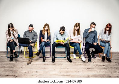 Start up people sitting in a row