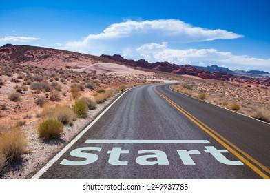 Start point on empty road in the desert