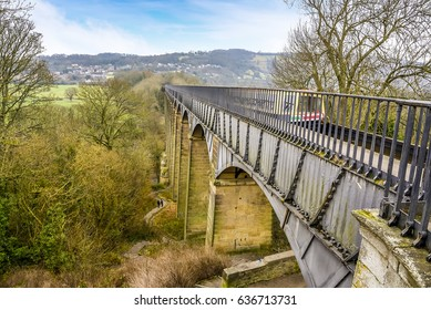 The start of the Pontcysyllte Aqueduct as it crosses the River Dee near Llangollen, Wales