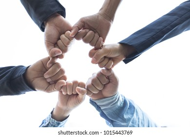 Start up of project Business people putting hands  assembly with Partners Trust in Team Giving Fist Bump to Greeting work Contractor,Business people be strong team collaborate,GroupTeamwork Concept