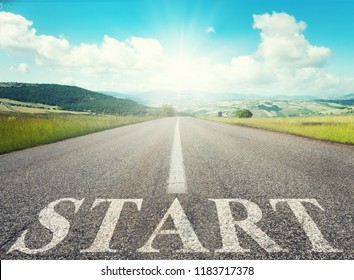 Start road of career. Concept of company startup