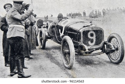 "Start of road racing.  Illustration from ""Niva"" magazine, publishing house A.F. Marx, St. Petersburg, Russia, 1913"