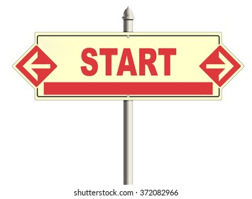 Start. Road sign on a white background. Raster.