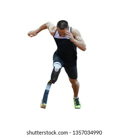 start running athlete disabled amputee on white background
