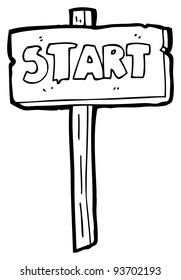 start sign cartoon (raster version)