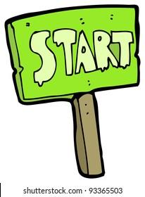 start signpost cartoon