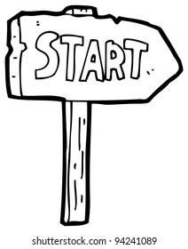 start signpost cartoon (raster version)