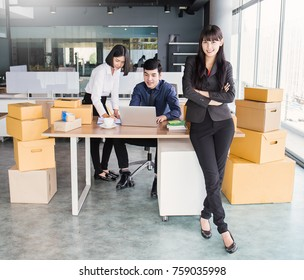 Start up small business entrepreneur SME or freelance woman team working with box, Young Asian small business owner at office, online marketing packaging box delivery, SME concept