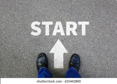 Start starting begin beginning businessman business concept job career goals motivation vision
