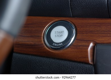 Start stop engine button on the car panel