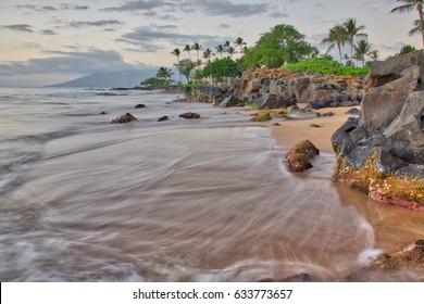 Start of sunset at Wailea Beach in Wailea, Maui, Hawaii