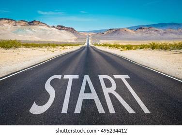 Start typed on a desert road