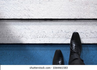 Start Up, Business Challenge or Do something New Concept. Top View of Businessman Steps from below to Upstair Level