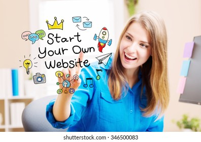 Start Your Own Website concept with young woman in her home office