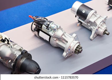 Starter motors of cars in the store