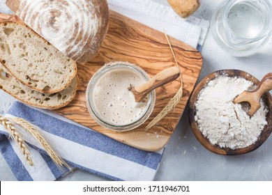 Starter sourdough ( fermented mixture of water and flour to use as leaven for bread baking). The concept of a healthy diet