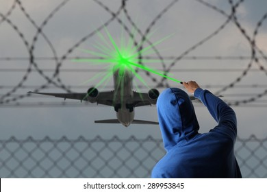 A Starting Airplane blinded with a Laser pointer