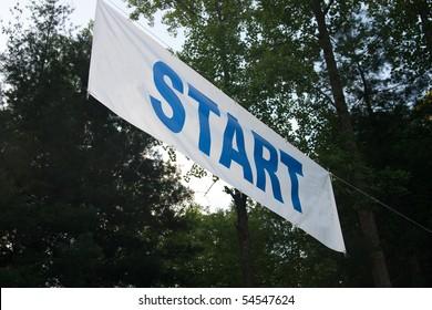 Starting banner for 10K road race