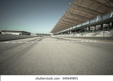 Starting & finishing point of a race track with patron grandstand alongside, Sepang F1 circuit malaysia