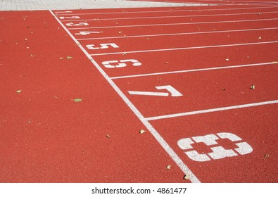 Starting line of a running track