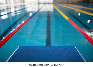 Starting Line In Swimming Pool Olympic