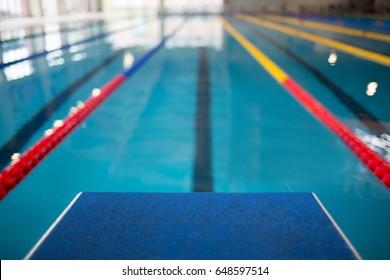 Starting line in swimming pool. Olympic swimming pool
