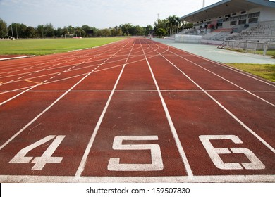 Starting Line of Track Running Lanes in Sports Arena.