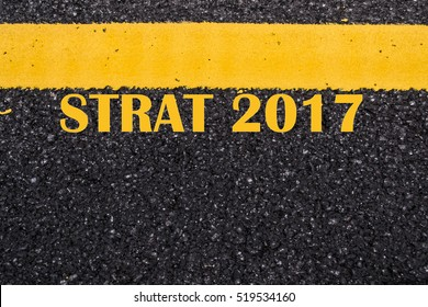 starting line waiting for the start in running track with text 2017 year, Start to new year