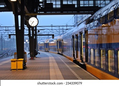Starting a new day moving in Amsterdam, Europe by train / Train on duty ? Good morning Amsterdam