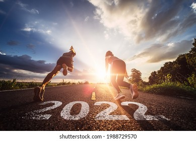 Starting to new year,The readiness of leaders, vision and new ideas are beginning in 2022.Concept of Stepping into the new world and Adopt for Success in 2022 for new life.
