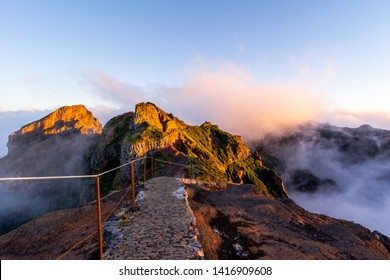 Starting pathway to Pico Ruivo peak at golden hour, Madeira, Portugal.