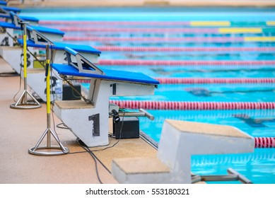 Starting podium swimming pool or Swimming competition diving boards