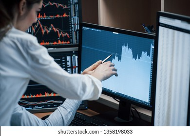 From starting point to complete success of the company. Team of stockbrokers are having a conversation in a office with multiple display screens.