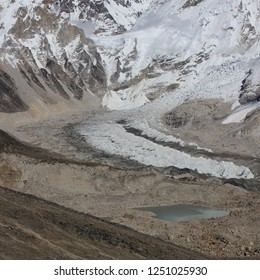 Starting point for Everest expeditions. Detail of the Khumbu Glacier.