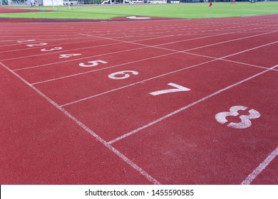 Starting point with running track lane Numbers for sprint or rac