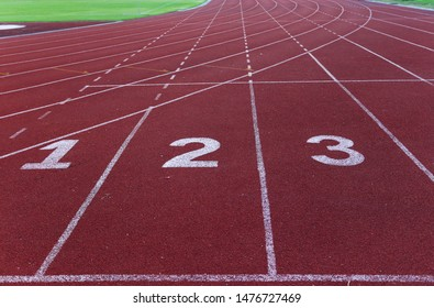 Starting point with running track lane Numbers for sprint and race