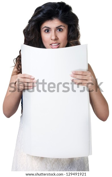 Startled Native American woman holding blank poster