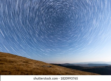 Startrail on a clear night in the Parang mountains, Romania.
