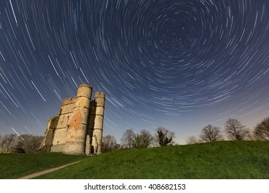 Startrail over Donnington Castle, Newbury