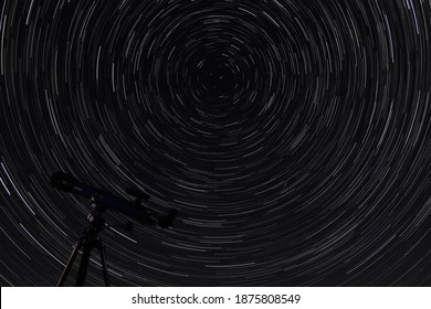 startrail with a telescope and polar star