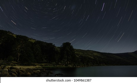 Startrails of Ruca Choroi Lake, there are some araucarias or also called 'pehuenes'. Located in Patagonia Argentina.