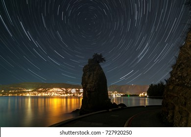 Startrails with Siwash Rock, Stanley Park, Vancouver, Canada
