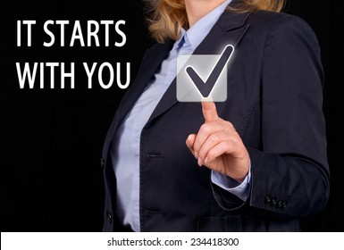 It starts with you - Businesswoman with slogan